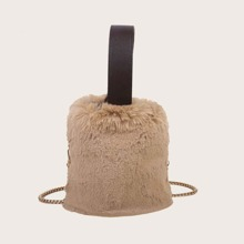 Fluffy Drawstring Bucket Bag