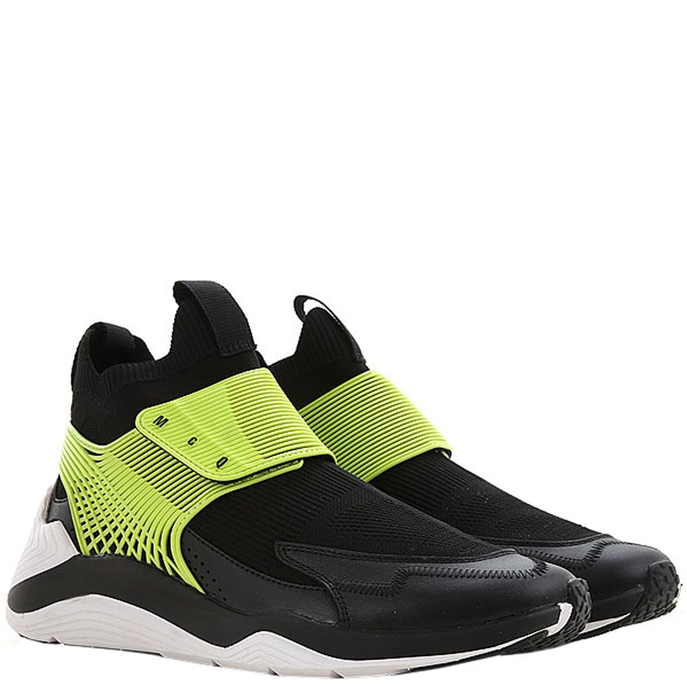 McQ Alexander McQueen Hikaru Leather Sneakers Lime Colour: BLACK, Size: 6