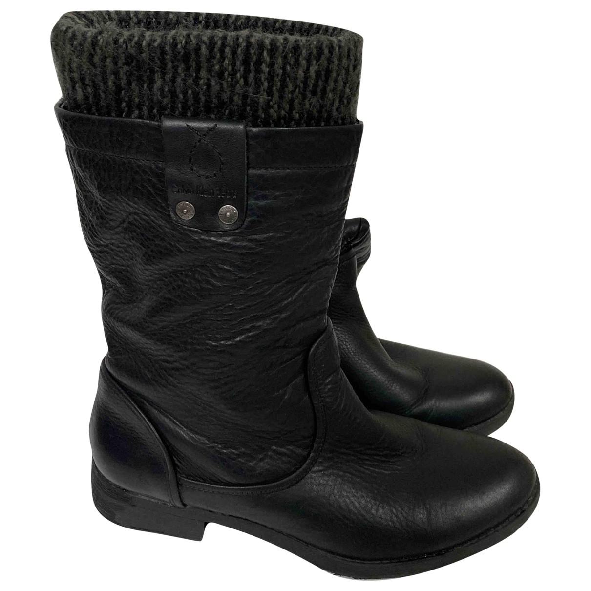 Calvin Klein \N Stiefel in  Schwarz Leder