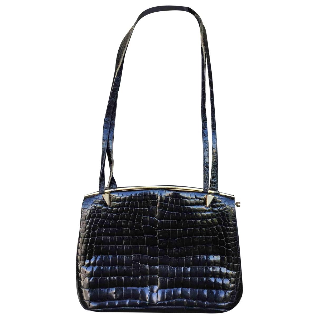 Delvaux \N Handtasche in  Schwarz Krokodil