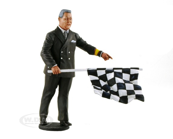 1950-1970s Director of the Course Standing with Checker Flag Figurine for 1/18 Scale Model Cars by Lemans Miniatures