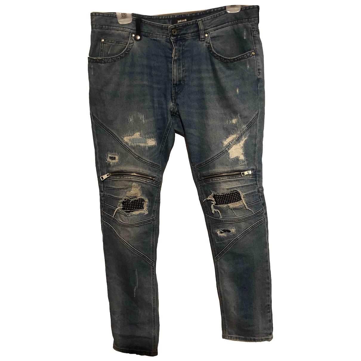 Just Cavalli \N Blue Cotton - elasthane Jeans for Men 34 US
