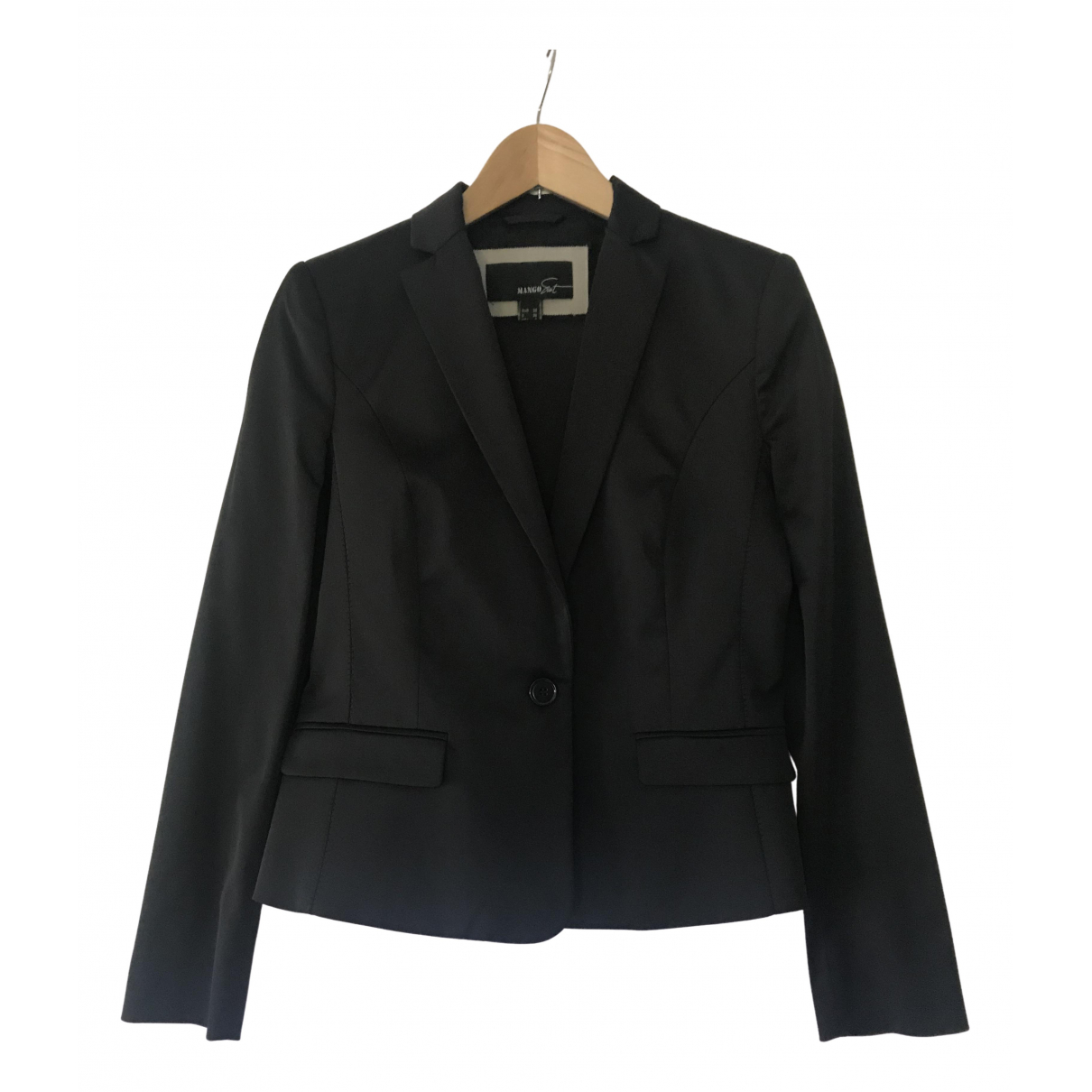 Mango - Veste   pour femme en coton - noir