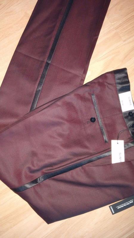 Burgundy ~ Maroon Flat Front Tuxedo Slacks Pants