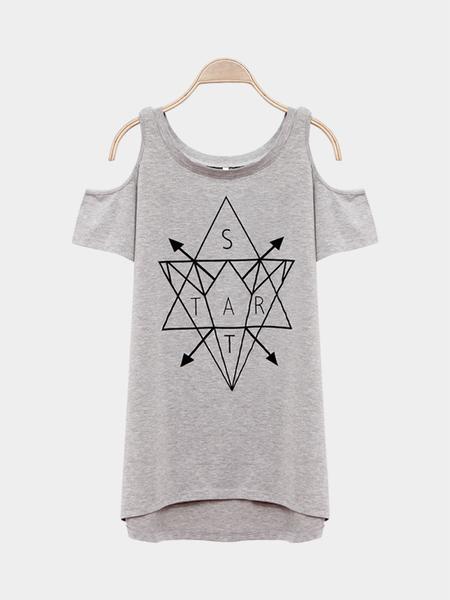 Yoins Cold Shoulder Round Neck Irregular Hem T-shirt