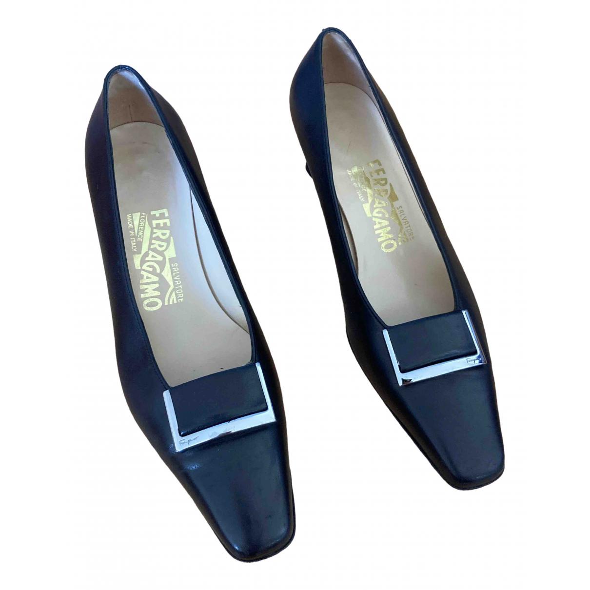 Salvatore Ferragamo N Black Leather Heels for Women 6.5 US