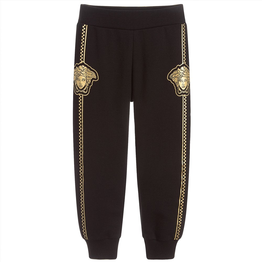 Versace Young Versace Gold Medusa Joggers Colour: BLACK, Size: 10 YEAR