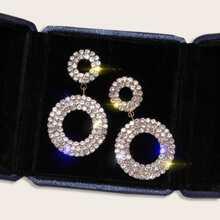 1pair Rhinestone Decor Double Round Drop Earrings