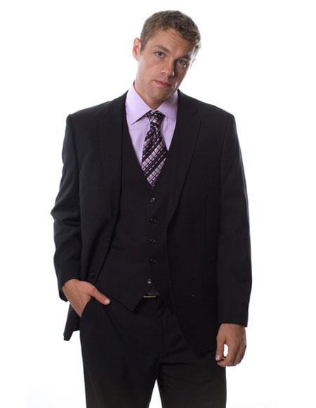Caravelli Mens Single Breasted Black 3Piece NotchLapel ClassicFit Suit