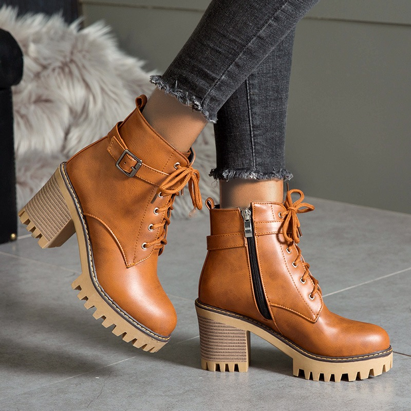 Ericdress Side Zipper Round Toe Plain Lace-Up Boots