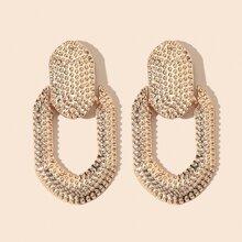 Textured Geometric Design Earrings