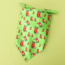 Christmas Sock Print Dog Bandana