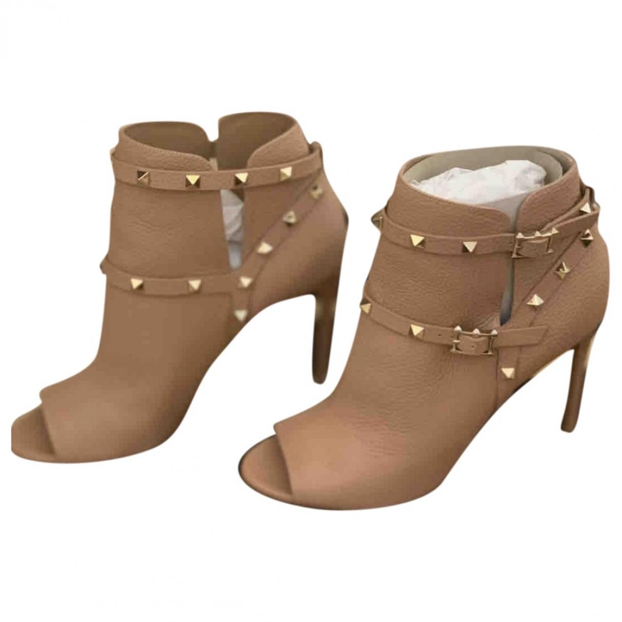 Valentino Garavani Rockstud Beige Leather Ankle boots for Women 40 EU
