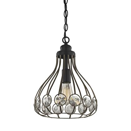 81105/1-LA Crystal Web 1 Light Penant in Bronze Gold and Matte Black with Clear Crystal - Includes Recessed