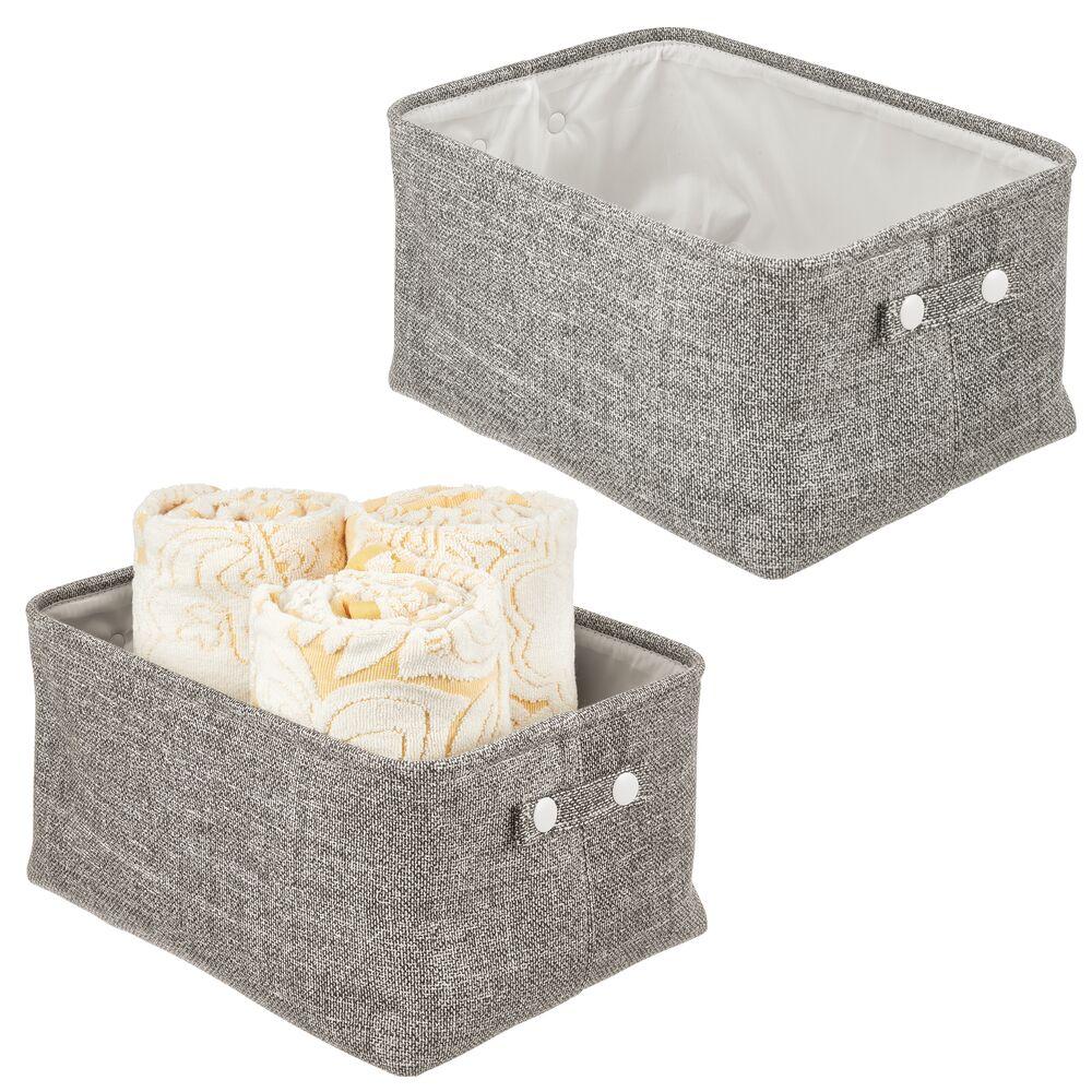 mDesign Small - Fabric Bathroom Storage Bin - Coated Interior in Black, Set of 2
