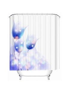 Freehand Blue Flowers Print Bathroom Shower Curtain