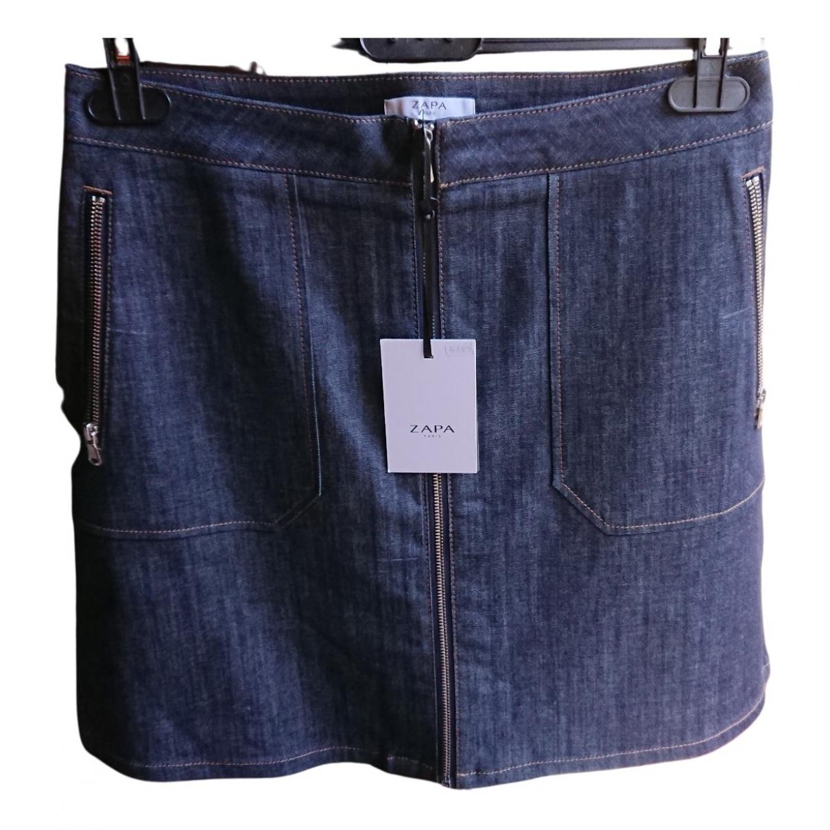 Zapa - Jupe   pour femme en coton - bleu
