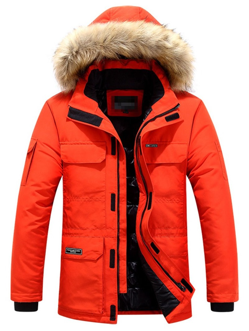 Ericdress Hooded Mid-Length Zipper European Mens Down Jacket