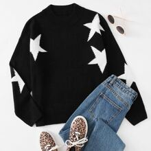 Drop Shoulder Star Pattern Sweater