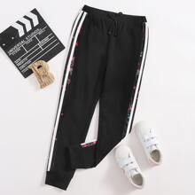 Girls Knot Waist Floral & Striped Side Joggers