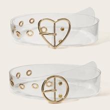 Heart & Round Buckle Transparent Belt 2pcs