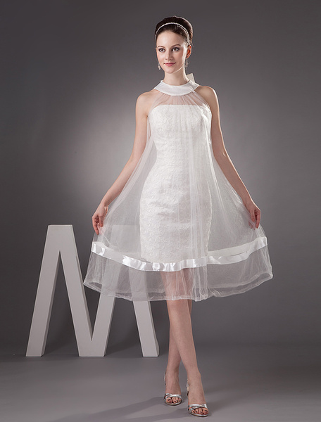 Milanoo Ivory Fashion Net Round Neck Mermaid Trumpet Mini Wedding Dress