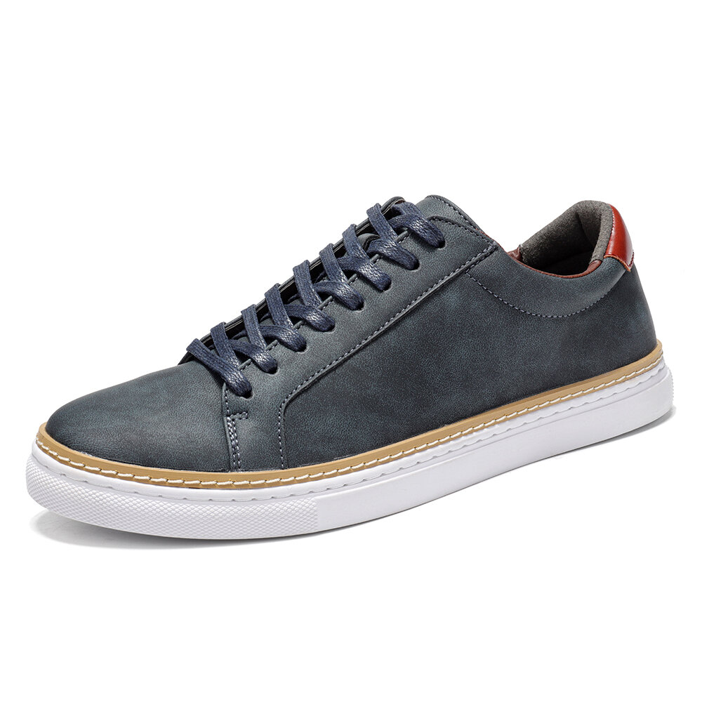 Menico Men Classic Skate Shoes Lace Up Sport Leather Trainers
