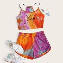 Letter Graphic Tie Dye Cami Top & Shorts Set