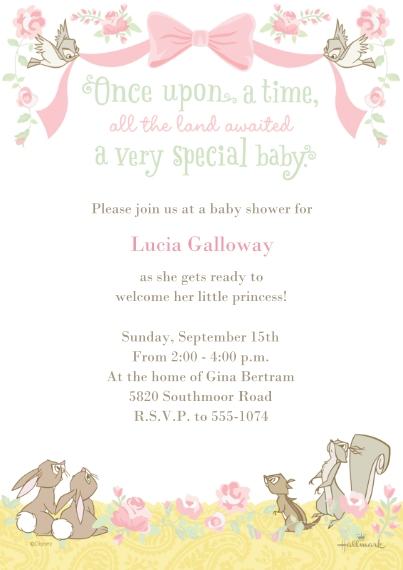 Baby Shower Invitations 5x7 Cards, Premium Cardstock 120lb, Card & Stationery -Disney Forest Animals