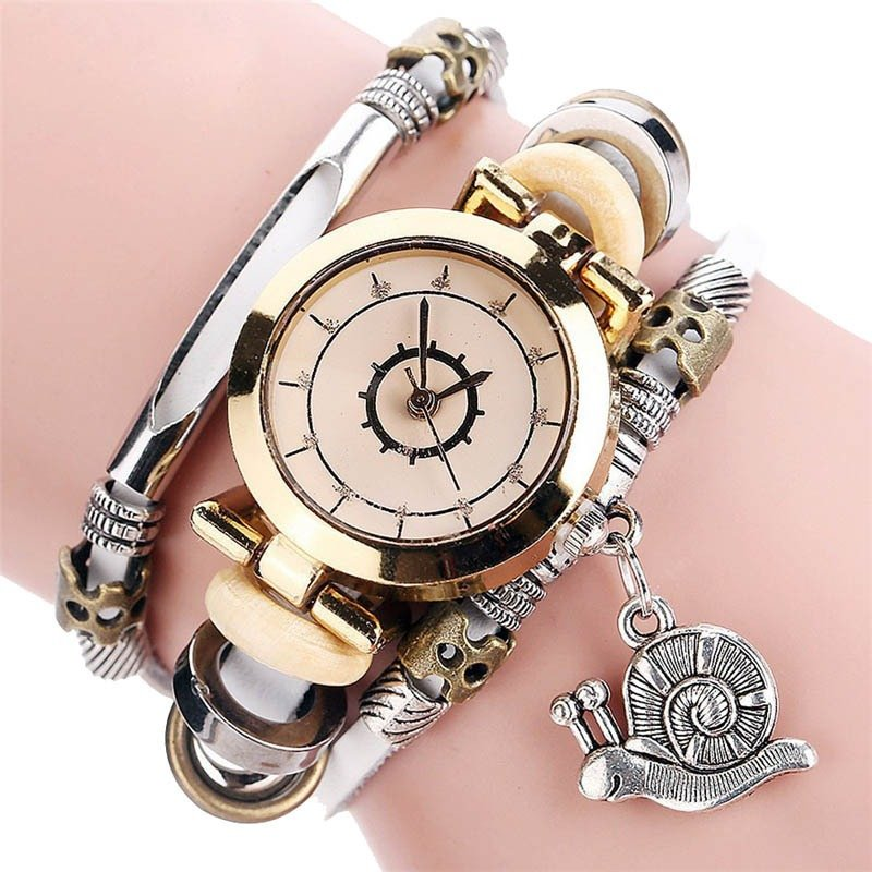 Vintage Bracelet Quartz Watch Individual Rhinestone Dial Watch Leather Watch For Women