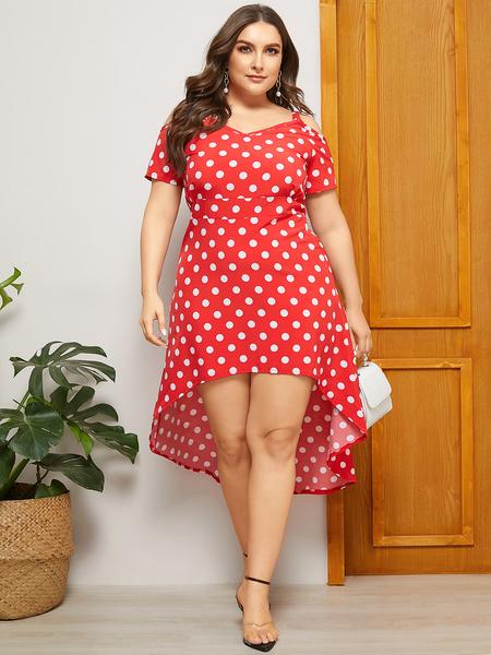 Yoins Plus Size Polka Dot Cold Shoulder Short Sleeves Dress