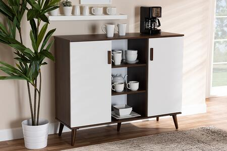 Quinn Collection MPC8004-COLUMBIAWALNUT/WHITE-SIDEBOARD Mid-Century Modern Two-Tone White and Walnut Finished 2-Door Wood Dining Room