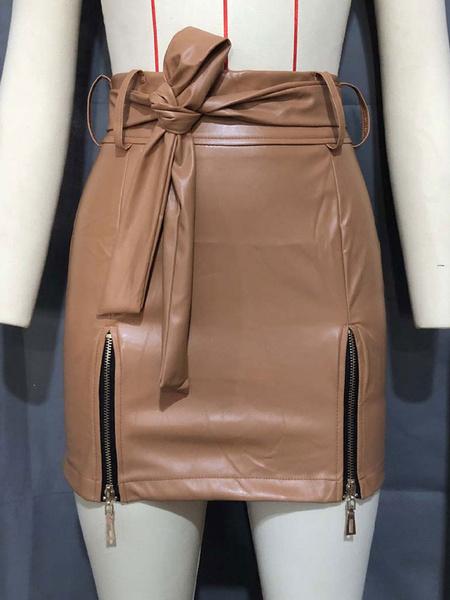 Milanoo Women Skirt White Zipper Detail Lace Up Short Women Bottoms
