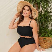 Grosse Grossen - Bikini Badeanzug mit Ruesche und hoher Taille