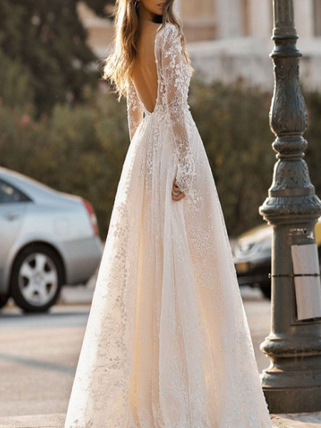Milanoo Simple Wedding Dress A Line V Neck Long Sleeves Lace Floor Length Bridal Gowns