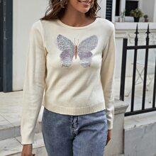 Pullover mit Kontrast Pailletten und Schmetterling Muster