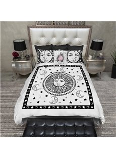 White Sun Couple Soft Modern 4-Piece Washable Polyester Bedding Sets/Duvet Cover