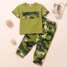Toddler Boys Camo Print Tee & Sweatpants