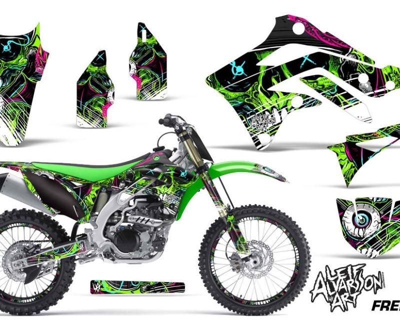 AMR Racing Graphics MX-NP-KAW-KX450-12-15-FZ G Kit Dedcal Sticker Wrap + # Plates For Kawasaki KXF450 2012-2015 FRENZY GREEN