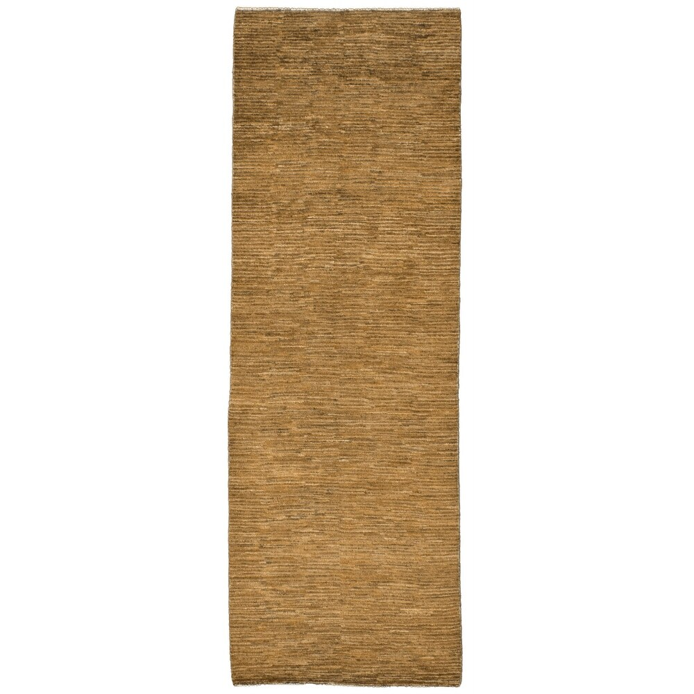 ECARPETGALLERY  Hand-knotted Pak Finest Gabbeh Olive Wool Rug - 2'7 x 7'9 (Olive - 2'7 x 7'9)