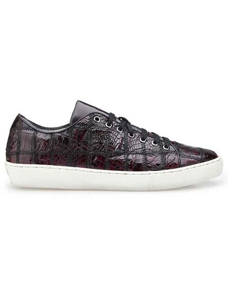 Mens Lace Up Burgundy Crocodile Shoe