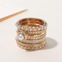 7 Stuecke Ring mit Kunstperlen Dekor