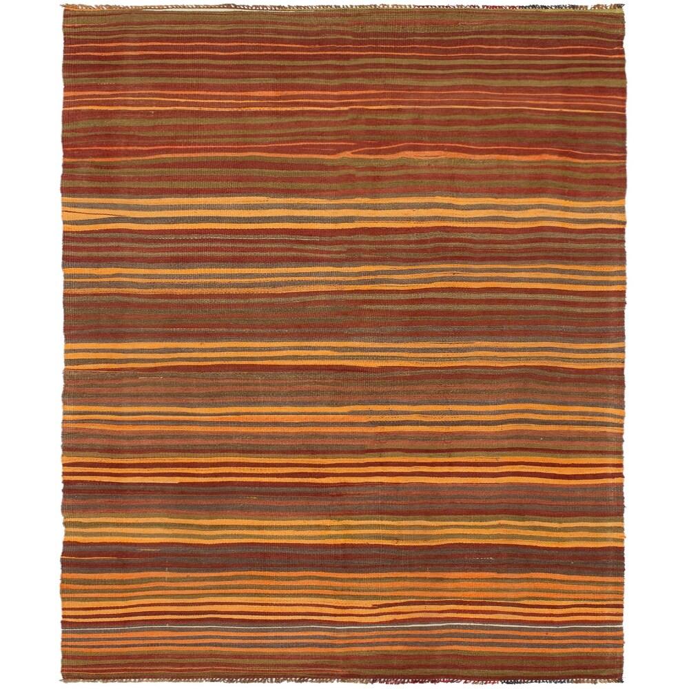 ECARPETGALLERY Flat-weave Bohemian Dark Red, Light Orange Wool Kilim - 4'7 x 9'5 (Dark Red/ Light Orange - 4'7 x 9'5)
