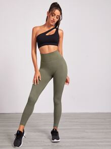 Solid Wide Waistband Sports Leggings