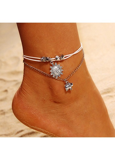 Mother's Day Gifts Elephant Design Layered Silver Metal Chain Anklet For Lady - One Size