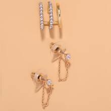 3 Stuecke Ohrringe mit Strass