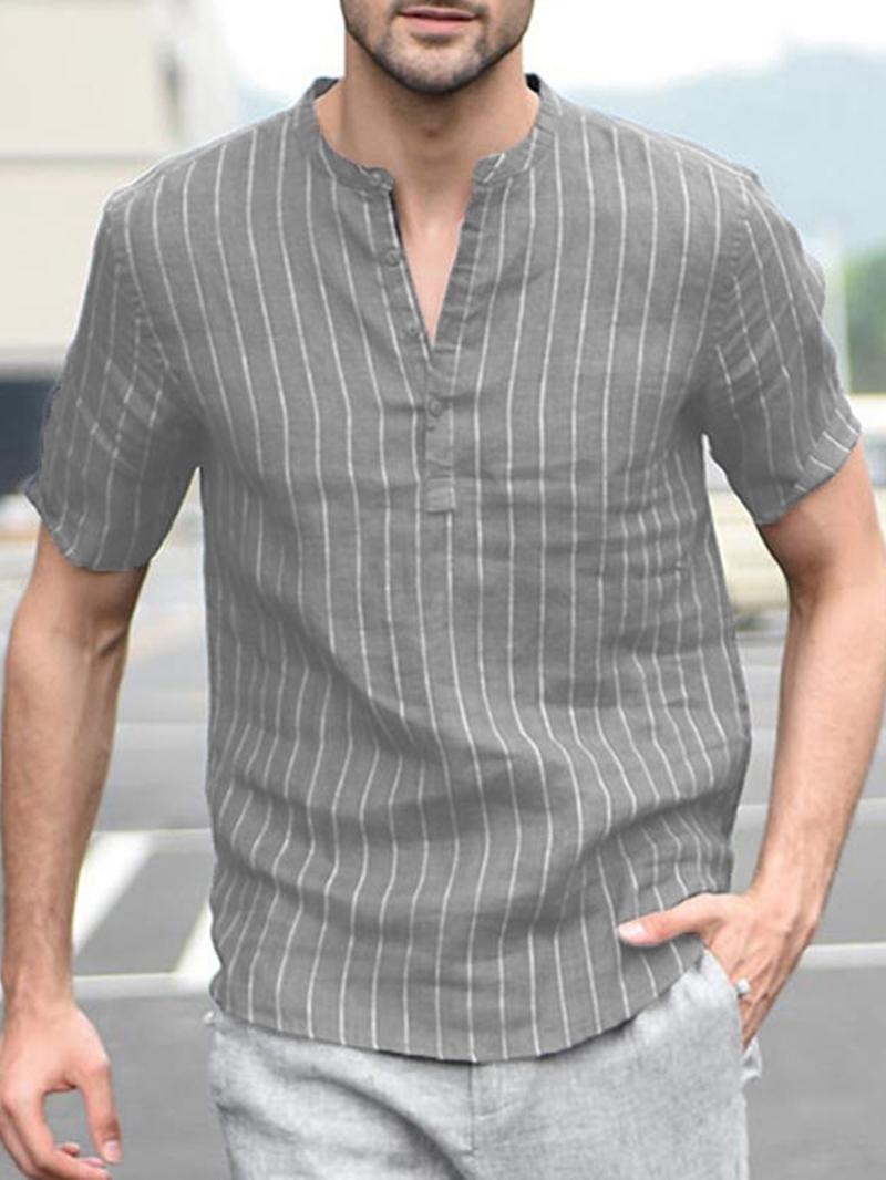Ericdress Stand Collar Button Stripe Summer Mens Loose Shirt