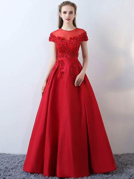 Milanoo Satin Evening Dresses Burgundy Long Prom Dresses Flowers Beading Illusion Floor Length Formal Dress