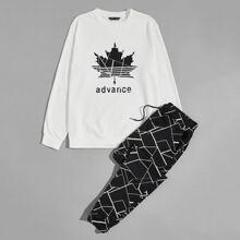 Pullover mit Blatt & Buchstaben Grafik und Jogginghose Set mit Geo Muster