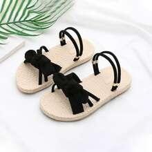 Maedchen Bow Knoten vorn Zwei-Wege-Wear Sandalen